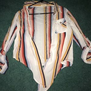 Colorful stripped blouse that ties in the front